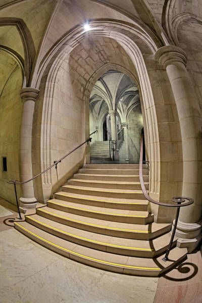 Photograph - Washington National Cathedral Crypt Level Stairs  by Susan Candelario