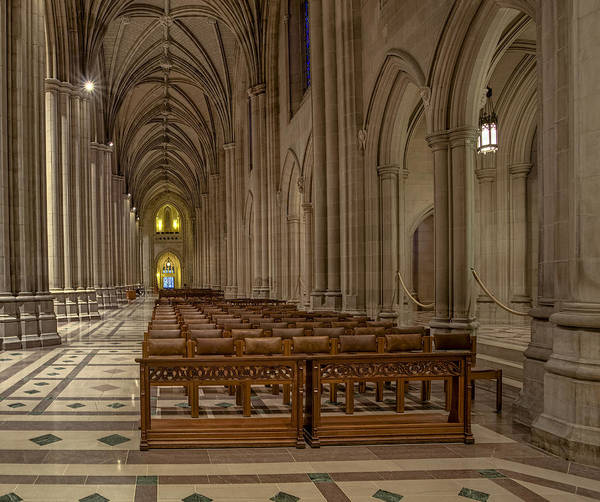 Photograph - Washington National Cathedral Nave by Susan Candelario