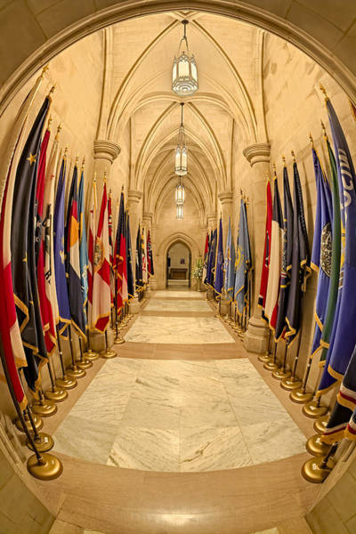 Photograph - Washington National Cathedral State Flags by Susan Candelario