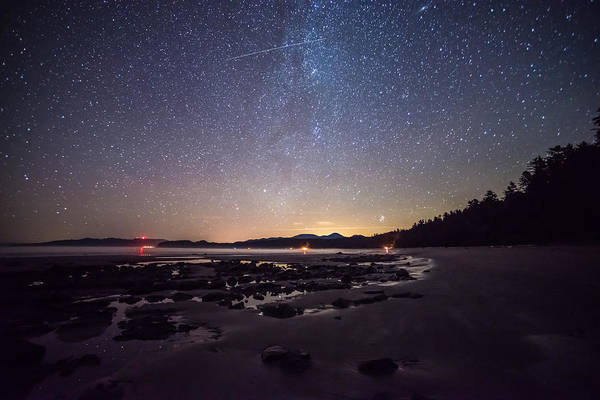 Photograph - Washington Olympic Night Sky Meteor by TM Schultze
