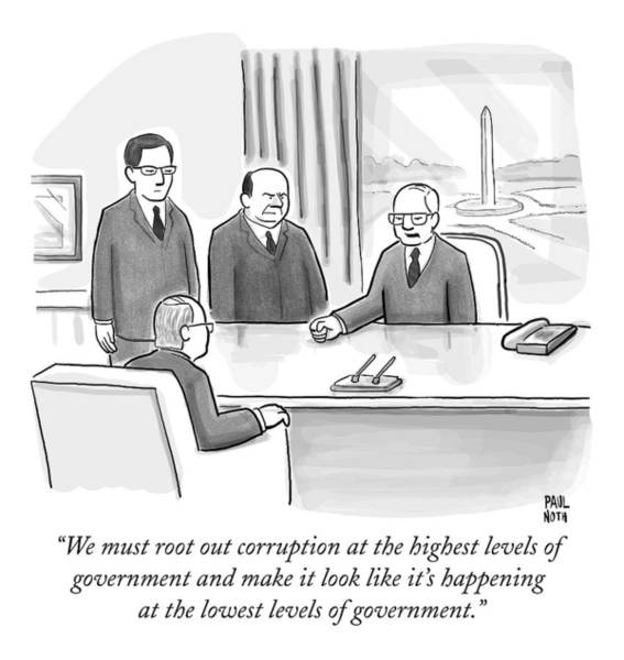 Scandal Drawing - Washington Politicians Speak Around A Desk by Paul Noth