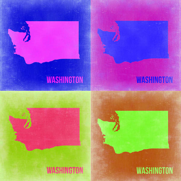 Wall Art - Painting - Washington Pop Art Map 2 by Naxart Studio