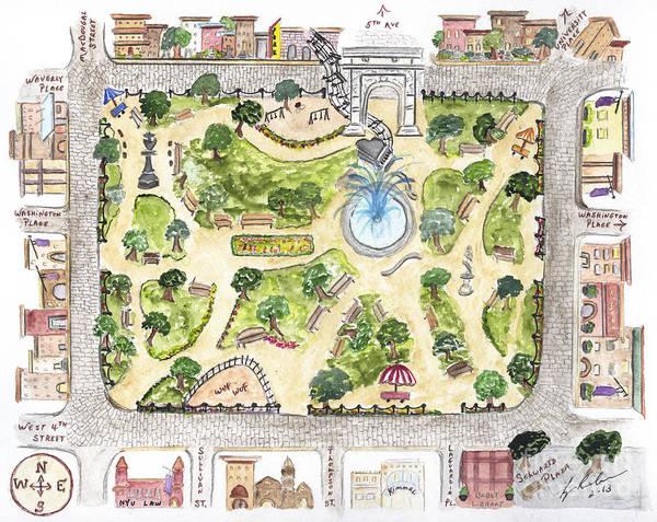 Washington Square Park Wall Art - Painting - Washington Square Park Map by AFineLyne