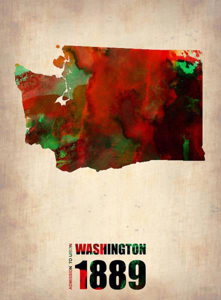 Washington State Wall Art - Digital Art - Washington Watercolor Map by Naxart Studio
