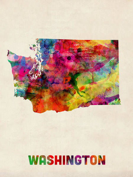 Seattle Digital Art - Washington Watercolor Map by Michael Tompsett