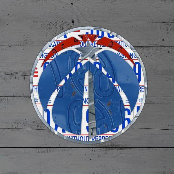 Wall Art - Mixed Media - Washington Wizards Basketball Team Logo Vintage Recycled District Of Columbia License Plate Art by Design Turnpike