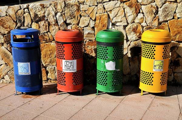 Rubbish Bin Photograph - Waste Separation And Recycling Bins by Photostock-israel