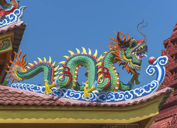 Photograph - Wat Bang Phueng King Taksin Shrine Dragon Roof Dthb1883 by Gerry Gantt