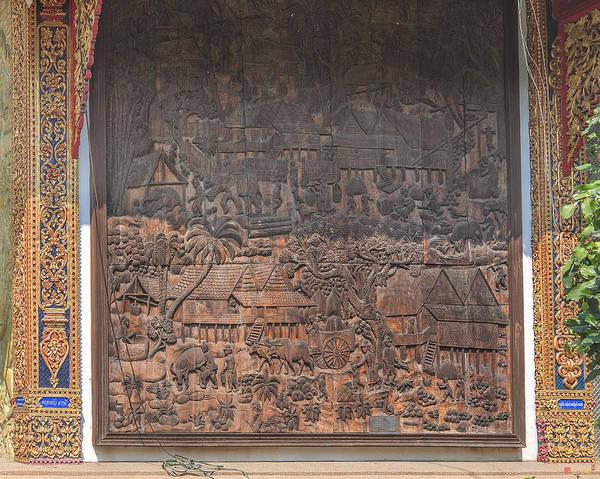 Chang Mai Wall Art - Photograph - Wat Chai Monkol Phra Ubosot Diorama Of Village Life Dthcm0856 by Gerry Gantt