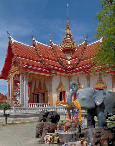 Wat Chalong Wiharn And Elephant Tribute Dthp045 Art Print