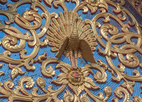 Chang Mai Wall Art - Photograph - Wat Pa Phrao Nok Peacock Gable Dthcm0769 by Gerry Gantt
