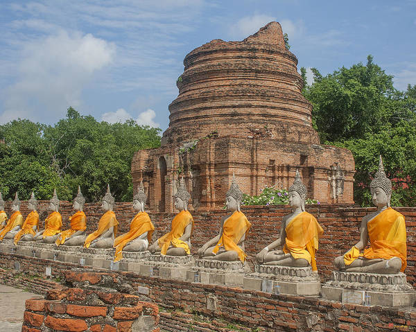 Photograph - Wat Phra Chao Phya-thai Buddha Images And Ruined Chedi Dtha005 by Gerry Gantt