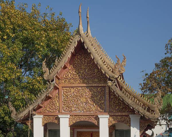 Chang Mai Wall Art - Photograph - Wat Sri Don Chai Phra Ubosot Gable Dthcm0095 by Gerry Gantt