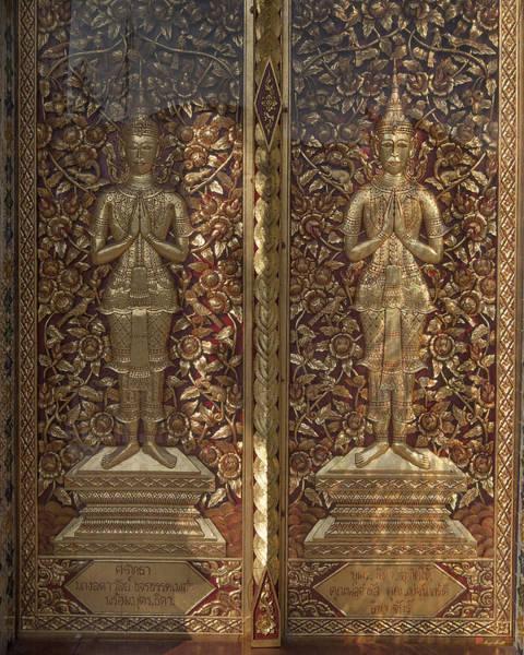 Chang Mai Wall Art - Photograph - Wat Sri Don Chai Phra Wiharn Center Door Dthcm0088 by Gerry Gantt