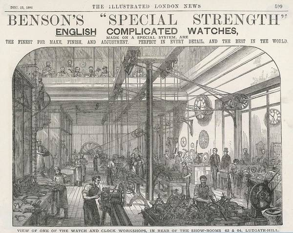 Wall Art - Drawing - Watch And Clock Manufacture  A Watch by  Illustrated London News Ltd/Mar