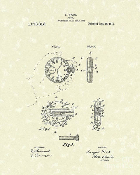 Woods Drawing - Watch Pistol 1913 Patent Art by Prior Art Design