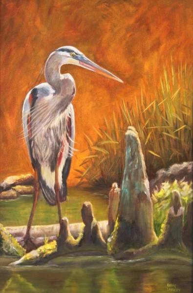 Watchful Heron Art Print