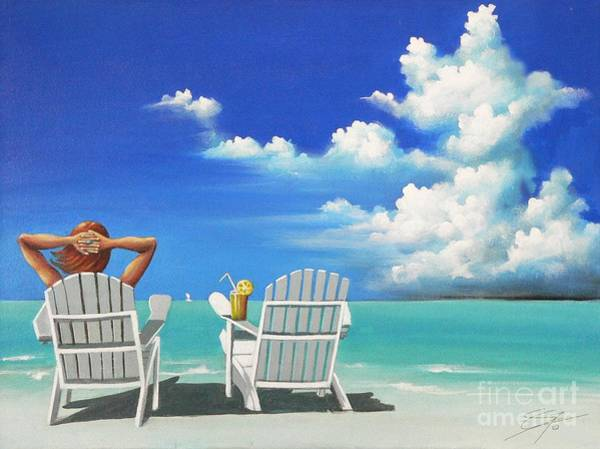 Susi Wall Art - Painting - Watching Clouds by Artist ForYou