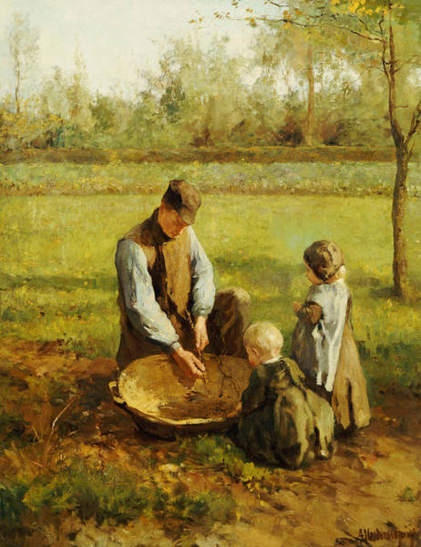 Family Farm Painting - Watching Father Work by Albert Neuhuys