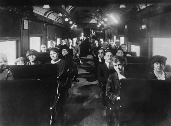 Photograph - Watching Movies On Trains! by Underwood Archives