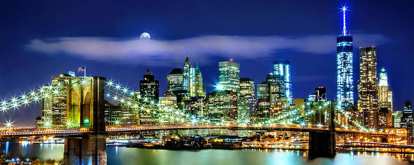 Full Moon Wall Art - Photograph - Watching Over New York by Az Jackson