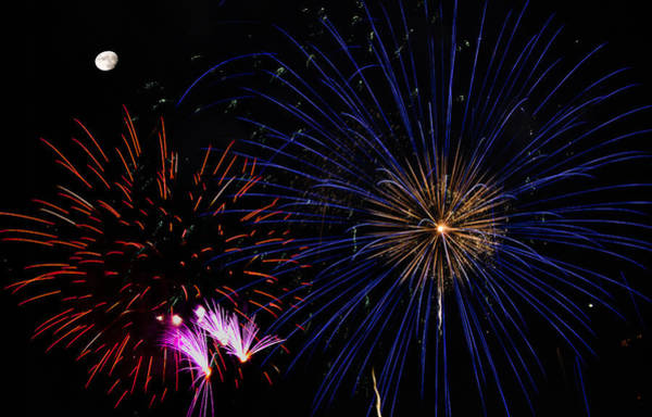 Photograph - Watching Red And Blue Starbursts - Fireworks by Penny Lisowski
