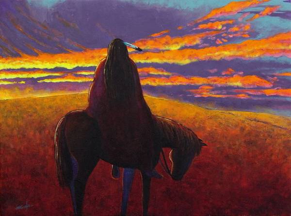 Native American Blanket Painting - Watching The Magic  by Joe  Triano