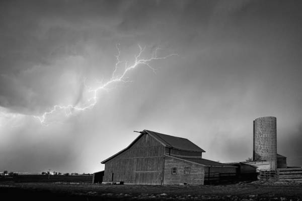 Photograph - Watching The Storm From The Farm Bw by James BO Insogna