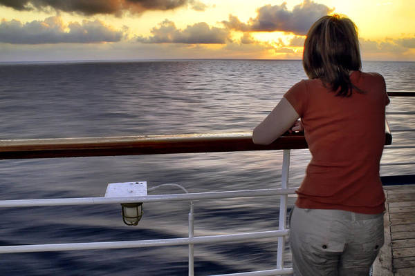 Photograph - Watching The Sunrise At Sea by Jason Politte