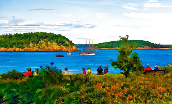 Photograph - Watching The Tall Ships In Bar Harbor Maine by Ginger Wakem