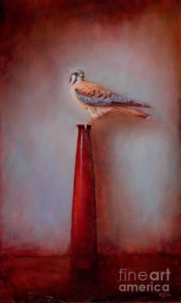 Wall Art - Painting - Watchtower - American Kestrel  by Lori  McNee