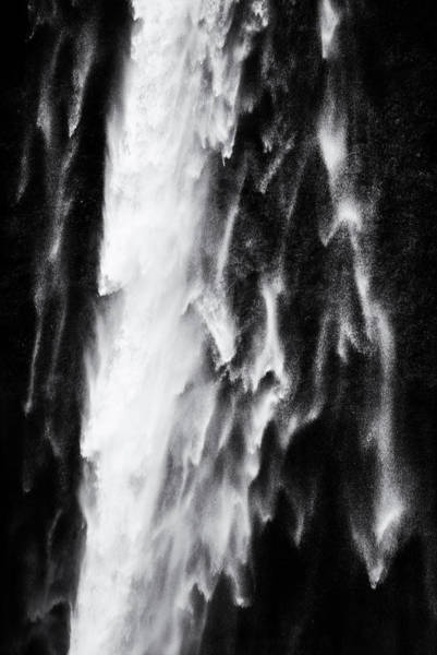 Photograph - Water Abstract Black And White Waterfall Seljalandsfoss by Matthias Hauser