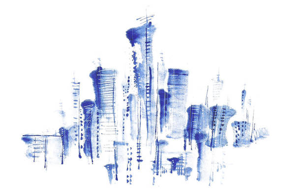 Exterior Digital Art - Water-and-ink Cityscape by Bji/blue Jean Images