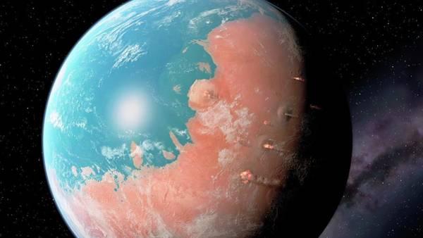 Water And Volcanoes On Mars Art Print