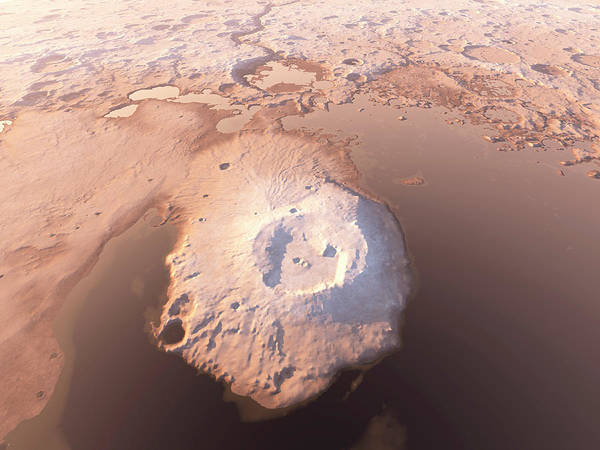 Water Erosion Photograph - Water Around Martian Volcano by Kees Veenenbos/science Photo Library