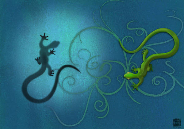 Tail Wall Art - Digital Art - water colour print of twin geckos and swirls Duality by Sassan Filsoof