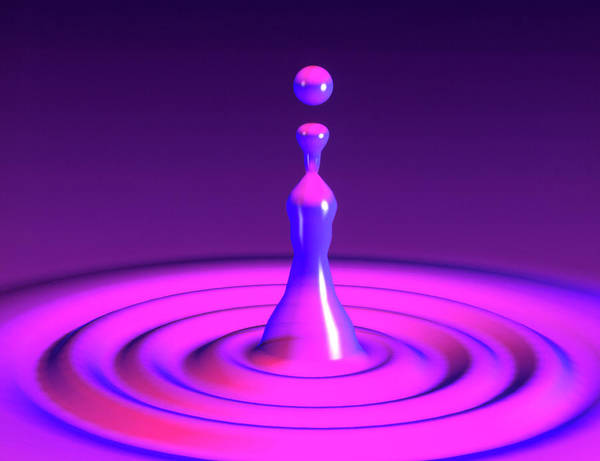 High Speed Photograph - Water Drop Impact by Mehau Kulyk/science Photo Library