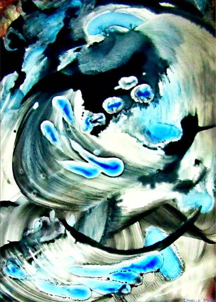 Painting - Water Drops And Big Blue Splashes Alcohol Inks by Danielle  Parent