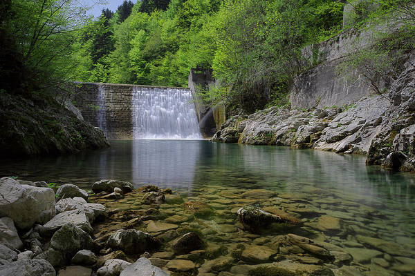 Photograph - Water Flowing Over The Dam by Ivan Slosar