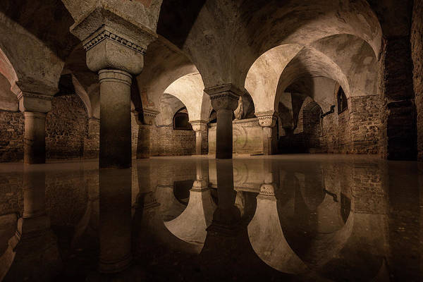 Columns Photograph - Water In The Crypt by Christopher Budny