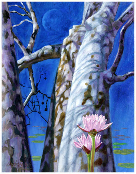 Sycamore Painting - Water Lilies And Sycamores by John Lautermilch