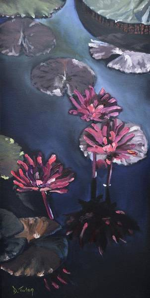 Wall Art - Painting - Water Lilies At Sunset by Donna Tuten