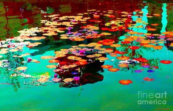 Painting - Water Lilies Pond Pink Lotus And Koi  Beautiful Nympheas Water Garden  Quebec Art Carole Spandau by Carole Spandau