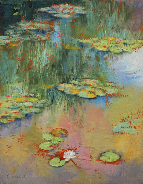 White Lily Painting - Water Lily by Michael Creese