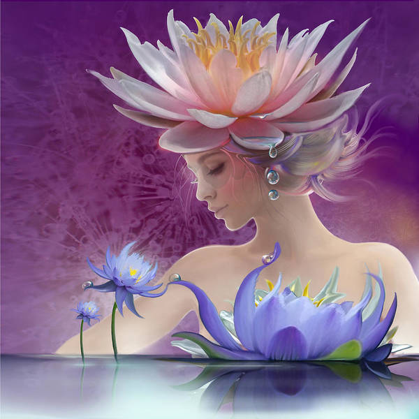 Digital Art - Water Of Life - In Violet by Anna Ewa Miarczynska
