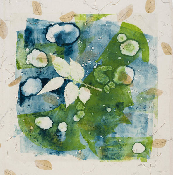 Monotype Mixed Media - Water Reflections  by Susan Richards