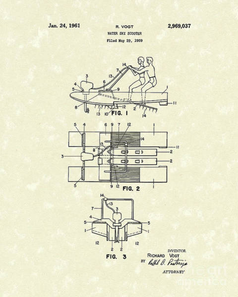 Drawing - Water Scooter 1961 Patent Art by Prior Art Design