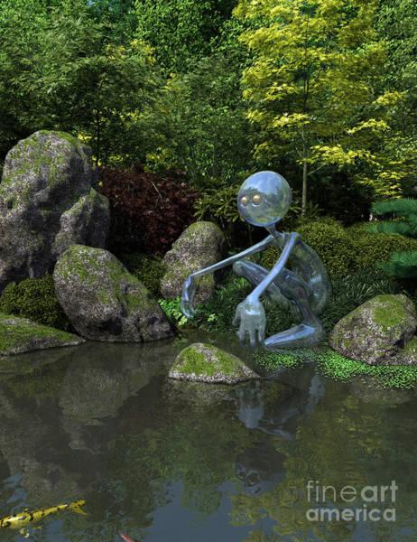 Crouching Digital Art - Water Spirit by Fairy Fantasies
