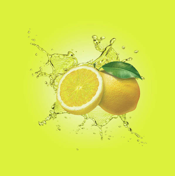 Lemon Digital Art - Water Splashing Around Lemons by Dave Higginson