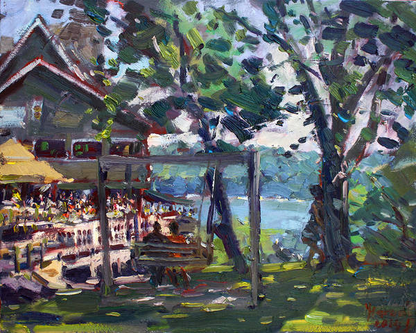 Lake House Painting - Water Street Landing Restaurant In Lewiston by Ylli Haruni